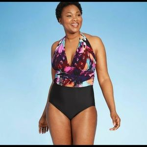 Over The Shoulder Gathered Waist One Piece